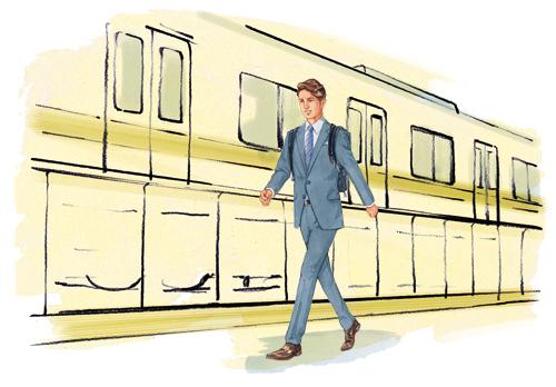 通勤している男性