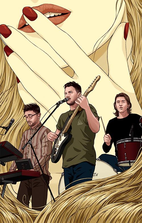 演奏しているバンドのイラスト
