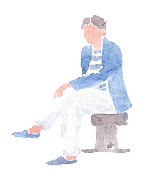 イスに座る男性のイラスト