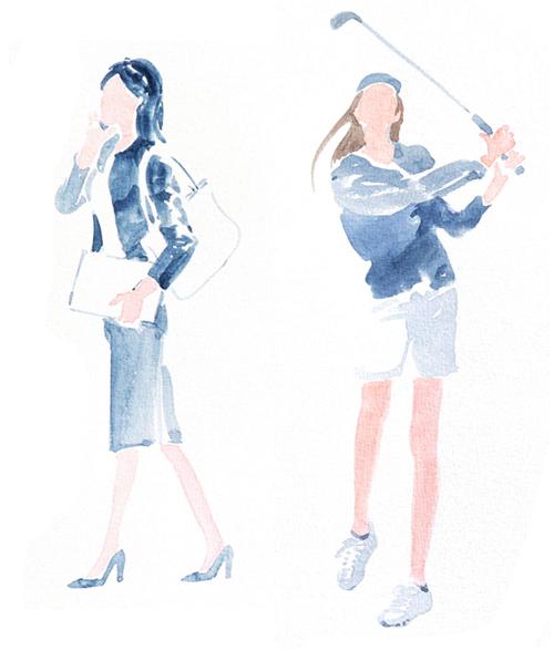 OLとゴルフをする女性
