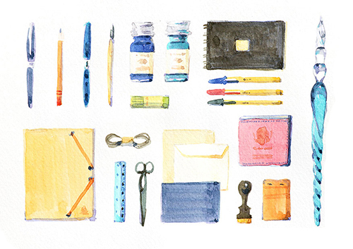 筆記用具やノートなどのイラスト