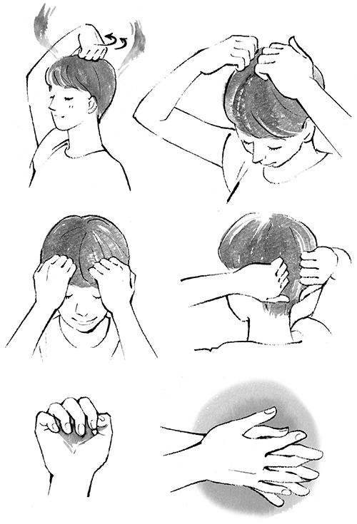 頭皮マッサージのイラストです。