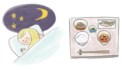 眠る女性、食事