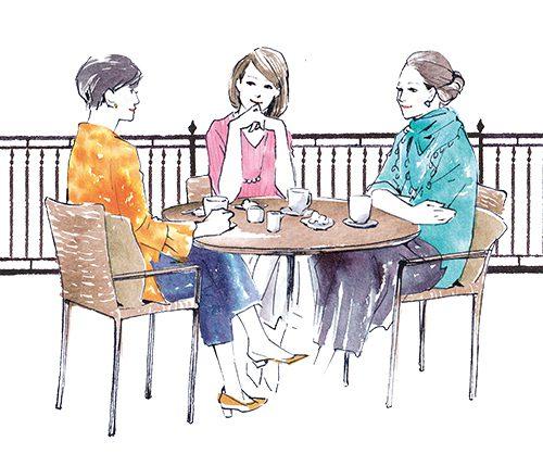 女性3人のお話しているイラスト