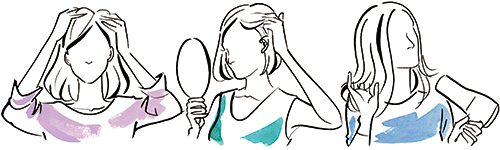 地肌について悩んでいる女性のシルエットイラストです。