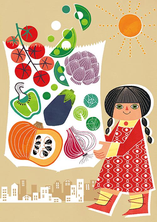 女の子と野菜のイラスト