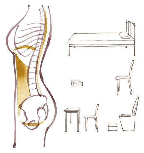 骨格と椅子、ベッド