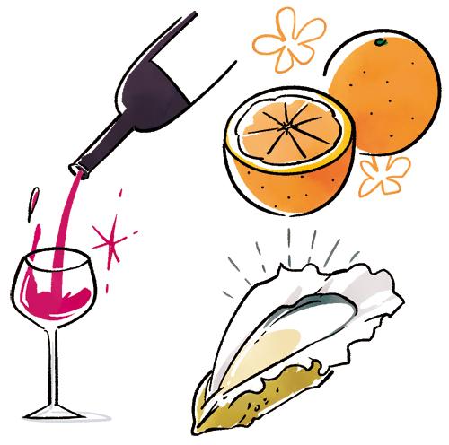 ワイン、オレンジ、牡蠣