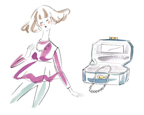女性と宝石箱