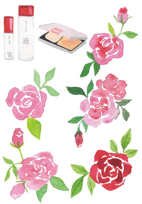 化粧品と薔薇