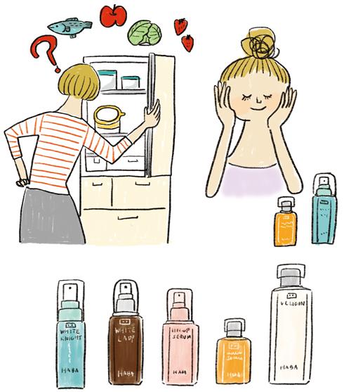 女性と化粧品