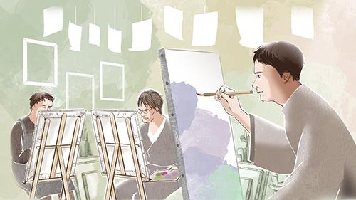 絵を描く学生達