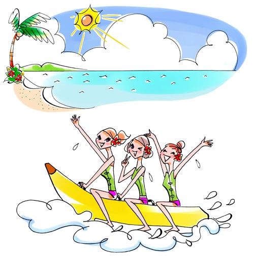 海でバナナボートに乗っている女性