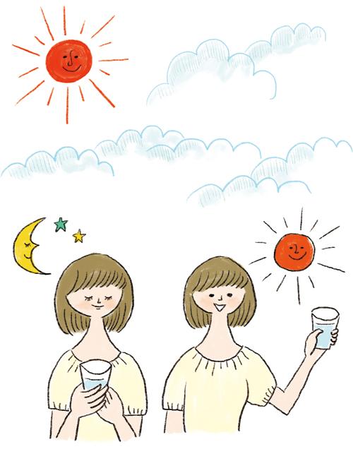 太陽、雲、女性