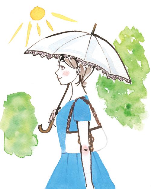 散歩している女性