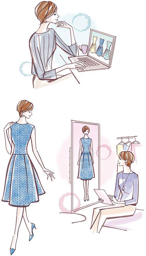 女性がドレスをフィッテイングするイラスト