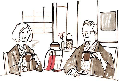 旅館で珈琲を飲んでいる夫婦