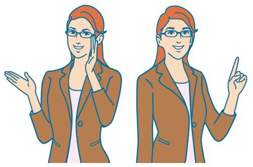 商品の説明をする女性のイラスト