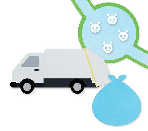 ゴミ収集車とゴミや菌のイラスト