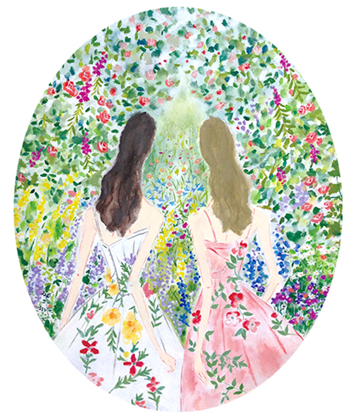 織田美涼が描いたお花に囲まれた女性のイラスト