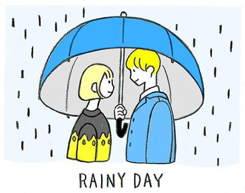傘をさすカップルのイラスト