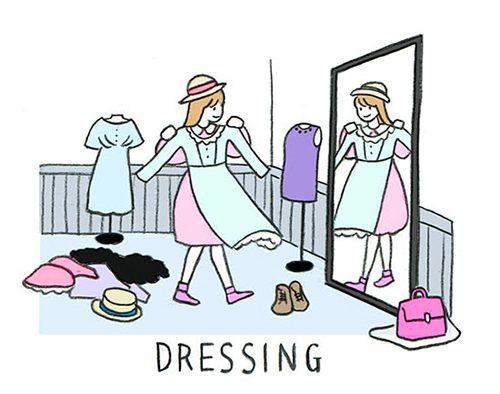 洋服を試着している女性のイラスト