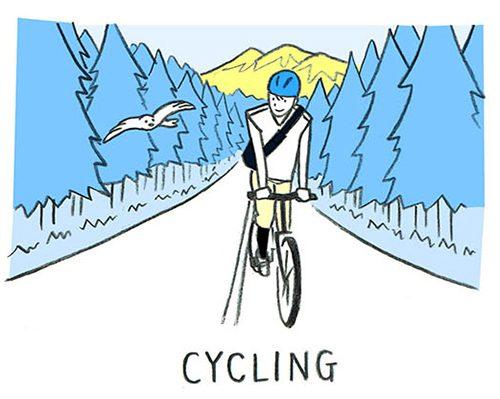 サイクリングをしている男性のイラスト