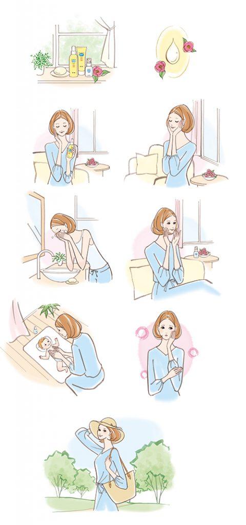スキンケアを使用する女性のイラスト