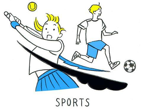 運動する学生のイラスト