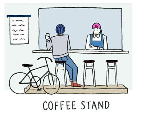 コーヒースタンドで会話する人物のイラスト