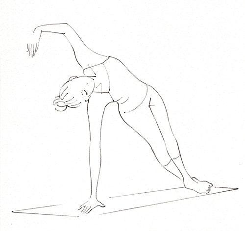 ピラティスをしている女性のイラスト