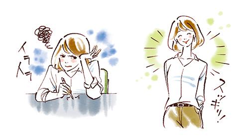 天野ふみこが描く笑顔の女性とイライラしている女性