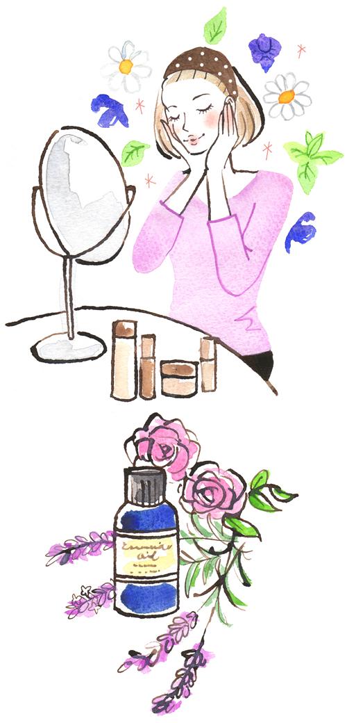 女性、化粧品と薔薇