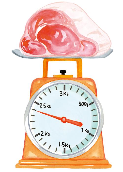 計量器と肉