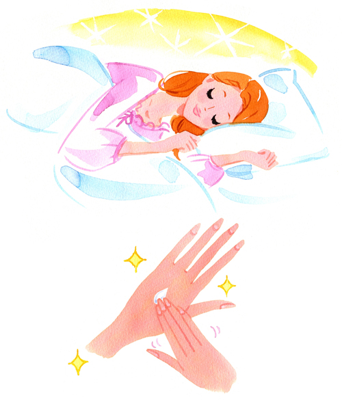 眠っている女性、手