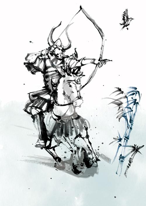 安藤直が描いた馬に乗った武士のイラスト