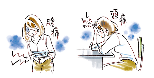 天野ふみこが描く腹痛の女性や頭痛の女性のイラスト