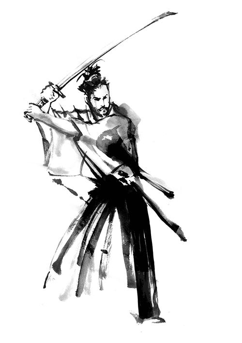 安藤直が描いた武士のイラスト