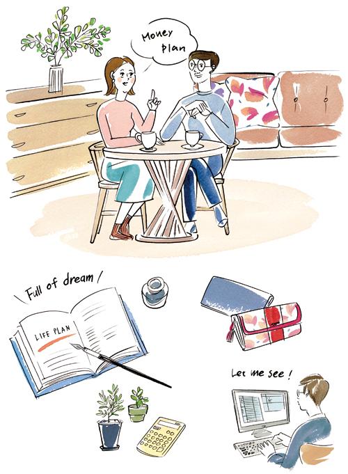夫婦と小物イラスト