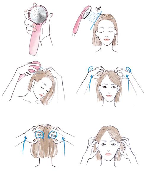 シャンプーや頭のマッサージをしている女性