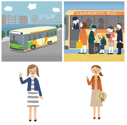 楠伸生が描いたバスに乗車する人々