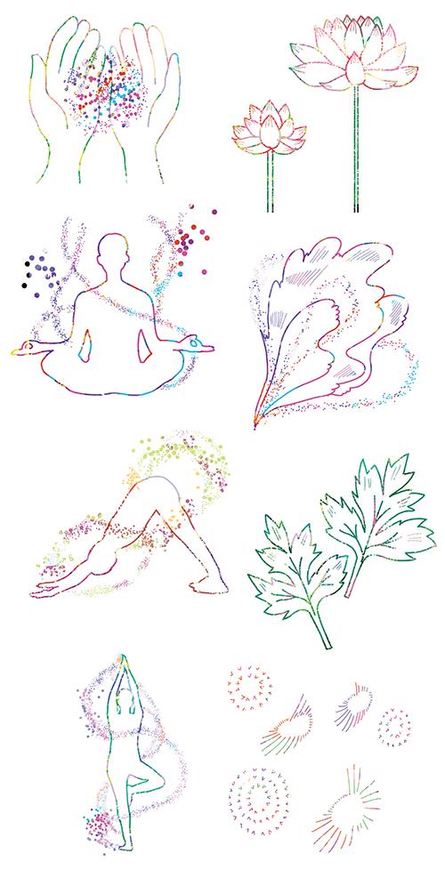 タムラカヨが描いたヨガや植物などのイラスト