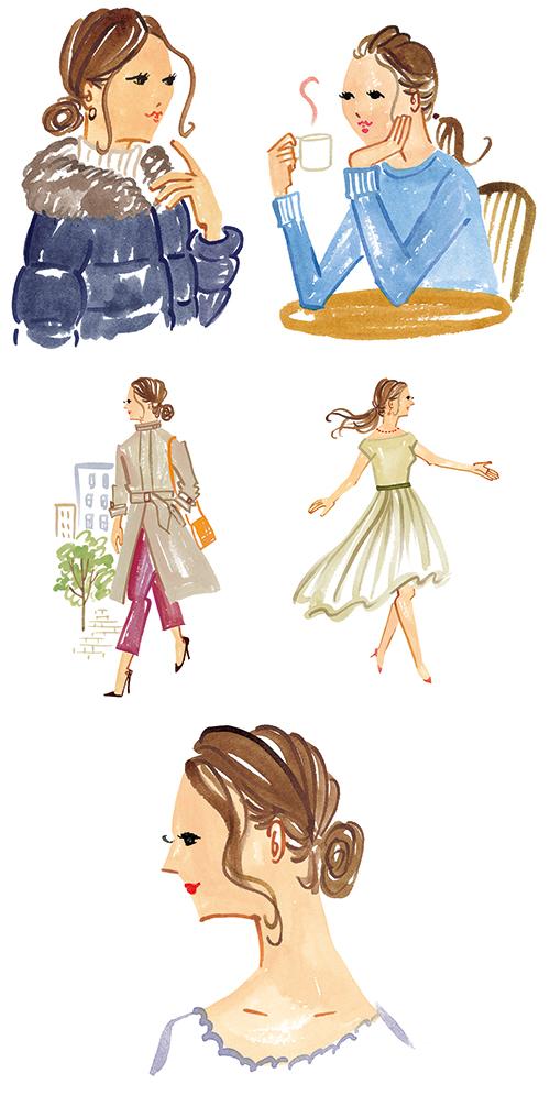 冬服の女性イラスト