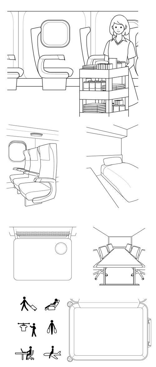 電車、飛行機、カバンの中、ホテルの部屋のイラスト