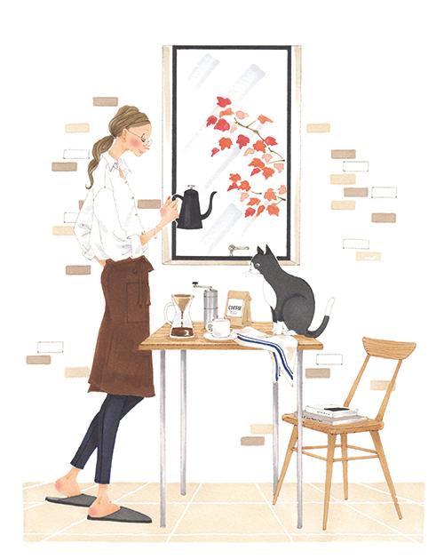 リビングにいる女性と猫のイラスト