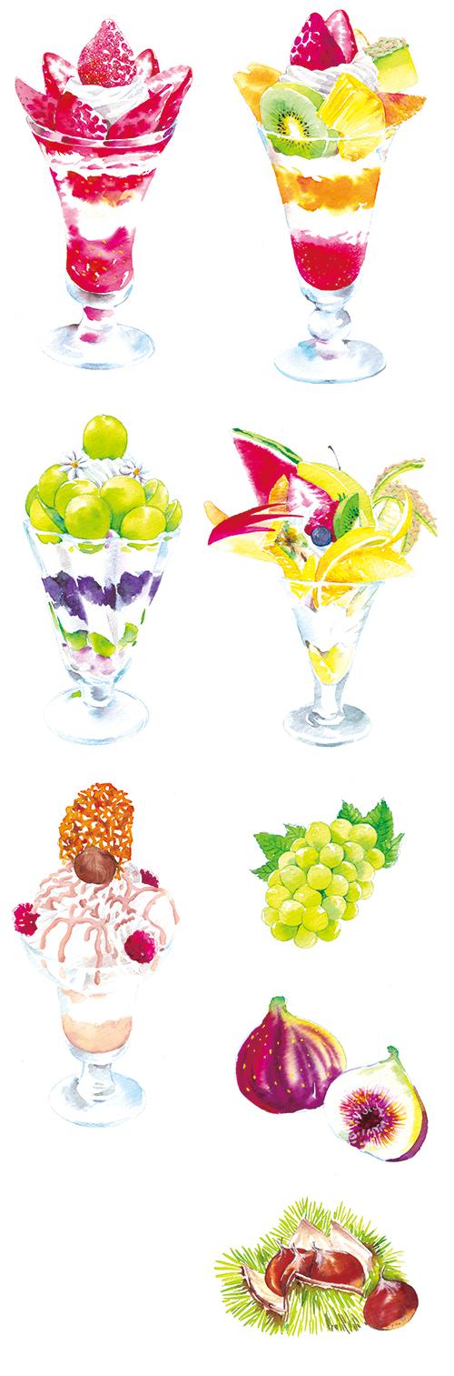 パフェや果物などスイーツのイラスト