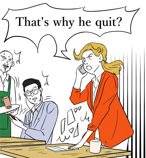 カフェで怒りながら電話をする女性会社員