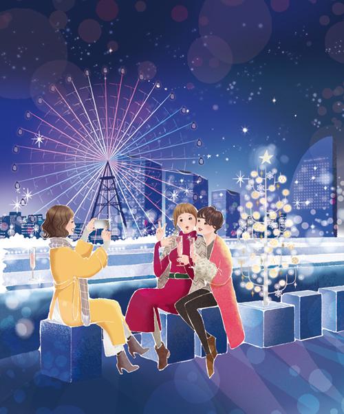 横浜の景色をバックに、3人の女性が記念撮影する補正