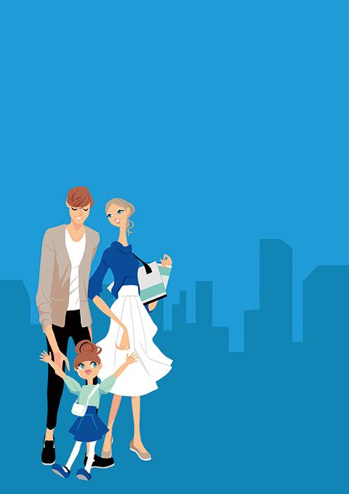 外出する家族のイラスト