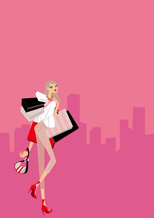 ショッピングをしている女性のイラスト
